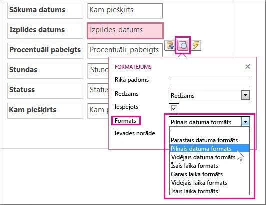 Formatēšanas izvēlnes attēls Access lietojumprogrammā.
