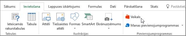 Ekrānuzņēmums, kurā sadaļas cilni Ievietot Excel lentē ar kursoru, kas norāda uz veikalu. Atlasiet veikalu, lai dotos uz Office veikalu un meklējiet pievienojumprogrammas programmai Excel.