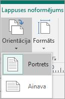 Cilnē Lappuses noformējums orientācijā atlasīta un opcijas Portrets vai ainava.