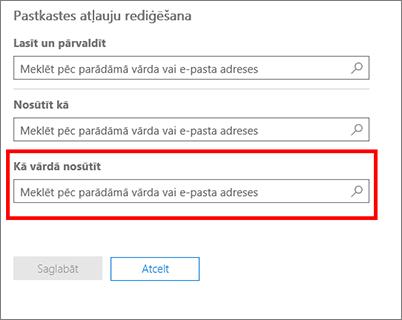 Ekrānuzņēmums: atļaujiet citam lietotājam sūtīt datus šī lietotāja vārdā