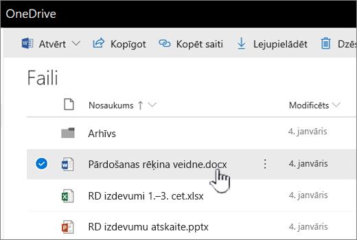 OneDrive ar atlasītu elementu fails