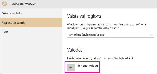 Valodas pievienošana sistēmā Windows10