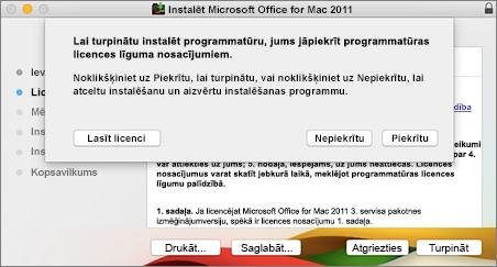 Ekrānuzņēmums, kurā redzams logs, lai pieņemtu programmatūras licences līgumu