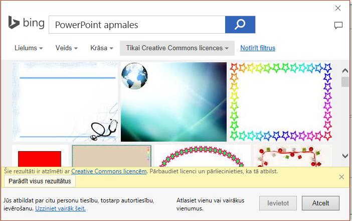 PowerPoint apmales Bing meklēšanas rezultātus.