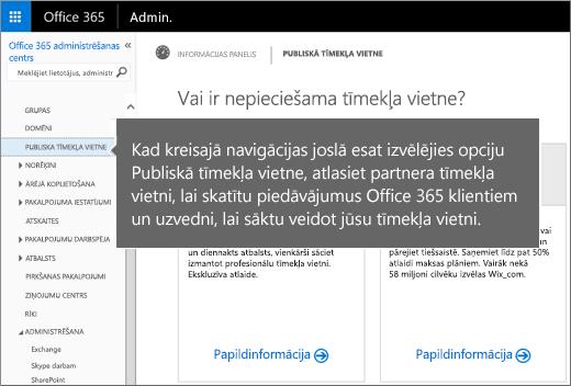 Pakalpojumā Office365 izvēlieties Publiska tīmekļa vietne
