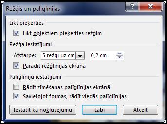 dialoglodziņš powerpoint režģis un palīglīnijas