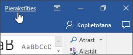 Ekrānuzņēmums, kurā redzams pierakstīšanās saiti Office darbvirsmas lietojumprogrammā