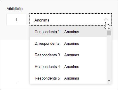 Nolaižamā saraksta ar respondentiem skatīšana programmā Microsoft Forms