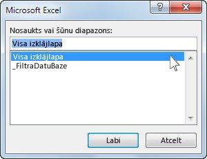 Dialoglodziņš Microsoft Excel programmā Word