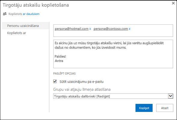 Attēls, kurā atainots vietnes dialoglodziņš Koplietošana ar norādītiem ārējo lietotāju lietotājvārdiem.