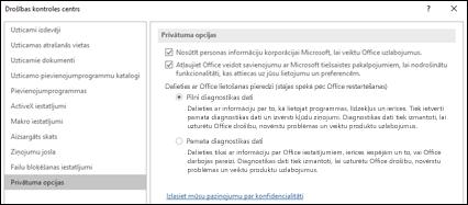 Drošības kontroles centra iestatījumu sadaļas privātuma opcijas sistēmā Office darbam ar Windows