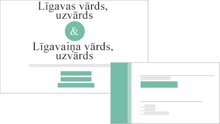 Ielūgums uz kāzām un atbildes kartīti konceptuāls attēls