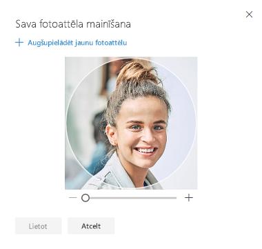 Ekrāns ar sava profila fotoattēla mainīšanas opciju