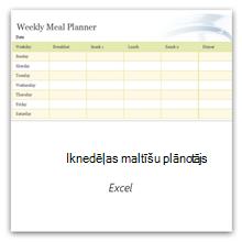 Atlasiet šo opciju, lai iegūtu nedēļas ēdienreižu plānotāja veidni