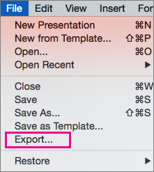 PoweRPoint 2016 for Mac File Export