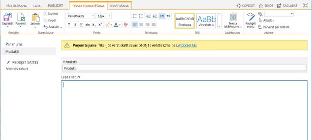Jaunas publicēšanas lapas ar dzeltenu joslu, kas norāda uz lapas izsniegšanu, ekrānuzņēmums