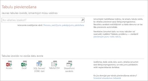 Tabulas pievienošana Access tīmekļa lietojumprogrammas