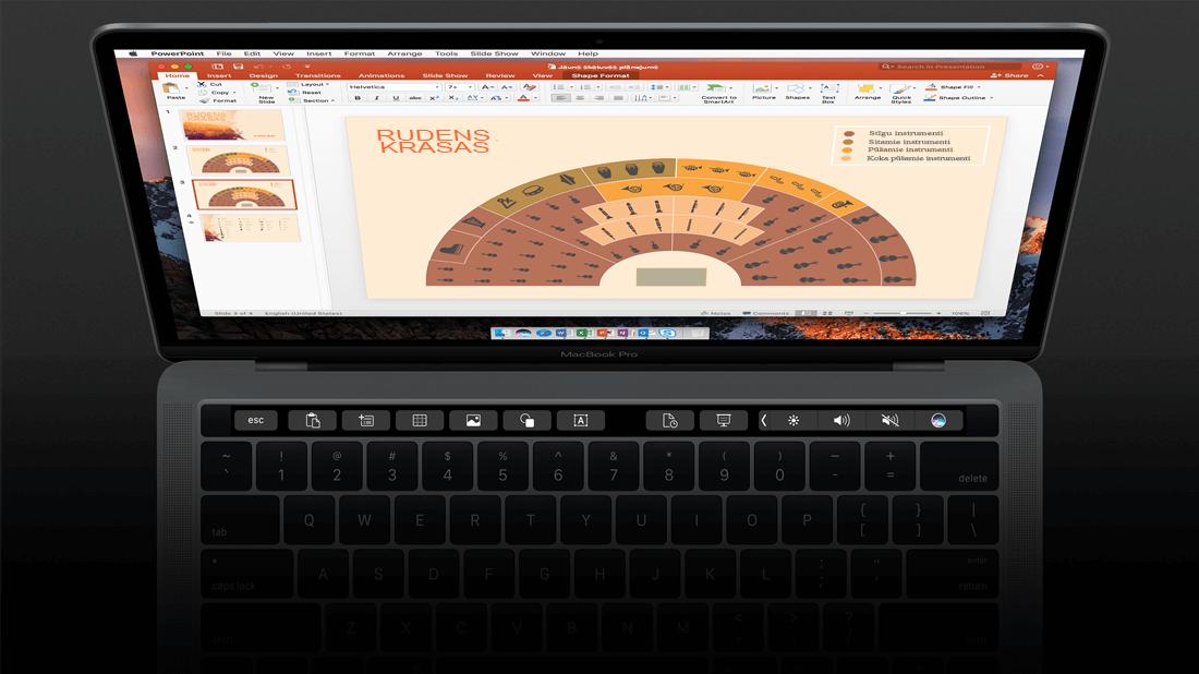 Skārienjoslas atbalsts programmā PowerPoint darbam ar Mac.