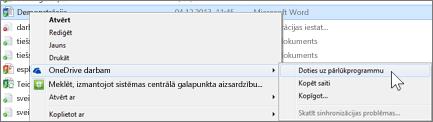 Sinhronizētā mapē esoša faila skatīšana tīmekļa pārlūkprogrammā