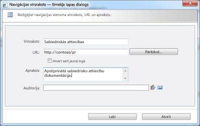 Navigācijas virsraksta dialoglodziņš