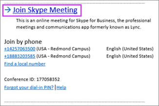 Pievienošanās Skype sapulcei Outlook sapulces pieprasījums