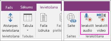 Izvēlnes Ievietot ar AV pogām programmā OneNote2016 ekrānuzņēmums.