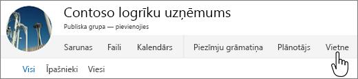 Office 365 personu grupas izvēlne ar iezīmētu vietni