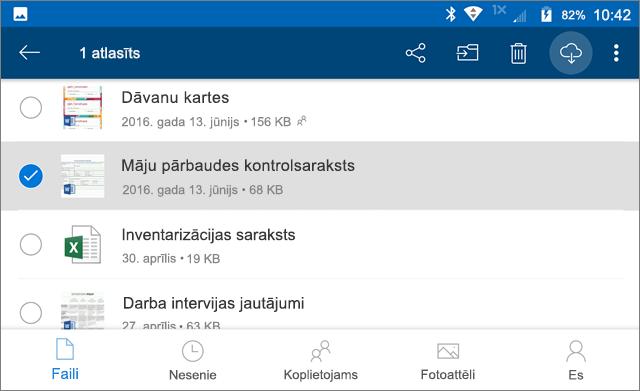 Atzīmēt OneDrive failus izmantošanai bezsaistē