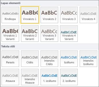 Ekrānuzņēmums ar SharePoint Online lentes grupā Stili pieejamiem lappuses elementiem un teksta stiliem.
