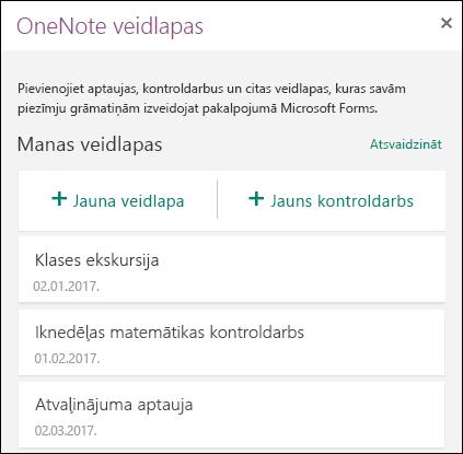 Panelis OneNote veidlapas programmā OneNote Online