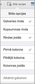iPad tabulas stila opcijas