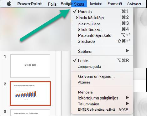 Izvēlne Skats programmā PowerPoint