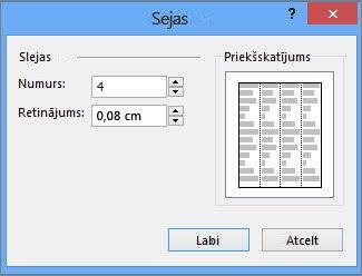 tekstlodziņa rīki/papildu slejas