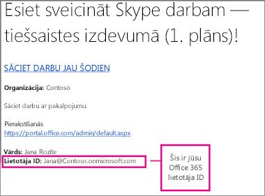 UzAicinājuma e-pasta ziņojums, ko saņēmāt pēc tam, kad reģistrējāties pakalpojumam Skype darbam Online. Tajā ir jūsu Office 365 lietotāja ID.