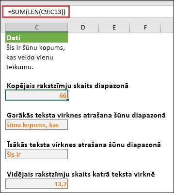 Kopējais rakstzīmju skaits diapazonā un citi masīvi darbam ar teksta virknēm