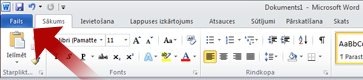 Arrow pointing to File tab in Word
