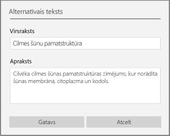 Dialoglodziņš Alternatīvais teksts, lai pievienotu alternatīvo tekstu programmā OneNote darbam ar Windows10.