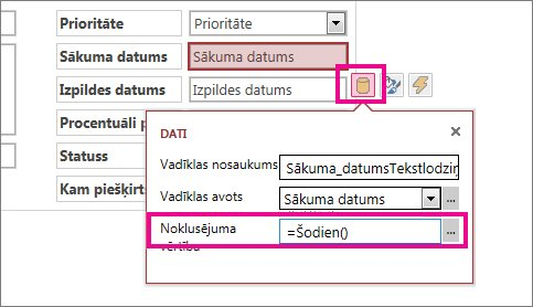 Datuma lauka noklusējuma vērtības iestatīšana programmā Access.