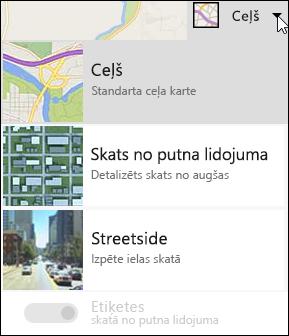 Bing kartes Web daļu kartes tips