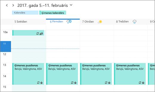 Ekrānuzņēmums, kurā redzams Outlook kalendārs un tajā attēlots koplietots ģimenes pasākums.