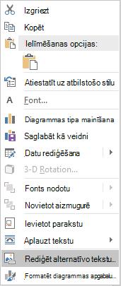 Word Win32 Alt teksta rediģēšanas izvēlne diagrammām