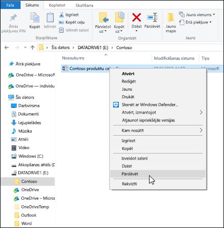 Ar peles labo pogu noklikšķiniet uz jebkuru failu Windows failu pārlūkā, lai pārdēvētu to.