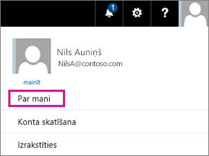 Lietotāja konta izvēlnes pakalpojumā Office 365