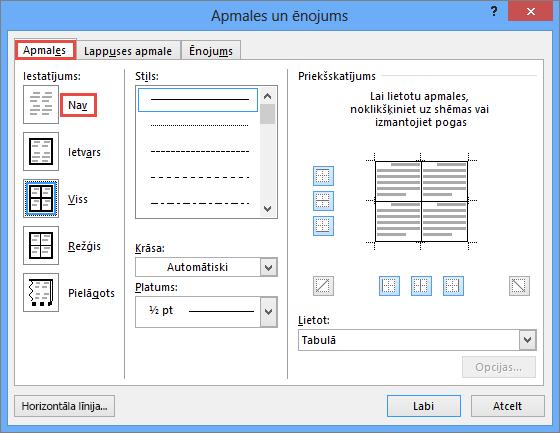 Outlook 2010 apmales un ēnojums dialoglodziņš tabulām