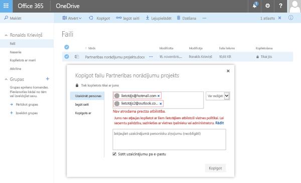 Lietotāji saņems šī kļūda, mēģinot kopīgot OneDrive dokumentu ierobežotas domēna adreses.
