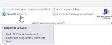SharePoint lentē iezīmēta poga Eksportēt uz Excel