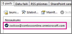 Konts programmas Outlook 2013 dialoglodziņā Konta iestatījumi