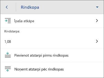 Komanda Rindkopa, ar formatēšanas opcijām