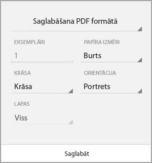 Saglabāšana PDF formātā