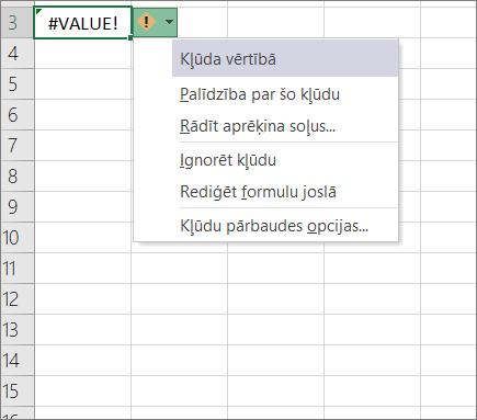 Nolaižamais saraksts, kas parādās blakus ikonai izsekošanas vērtība